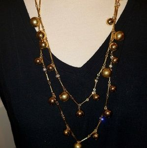 Kate spade 2 tier gold tone bead necklace
